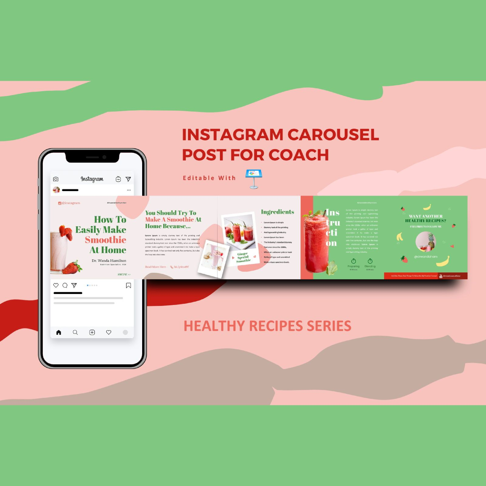 Recipe creator tips instagram carousel keynote template, 08335, Infographics — PoweredTemplate.com