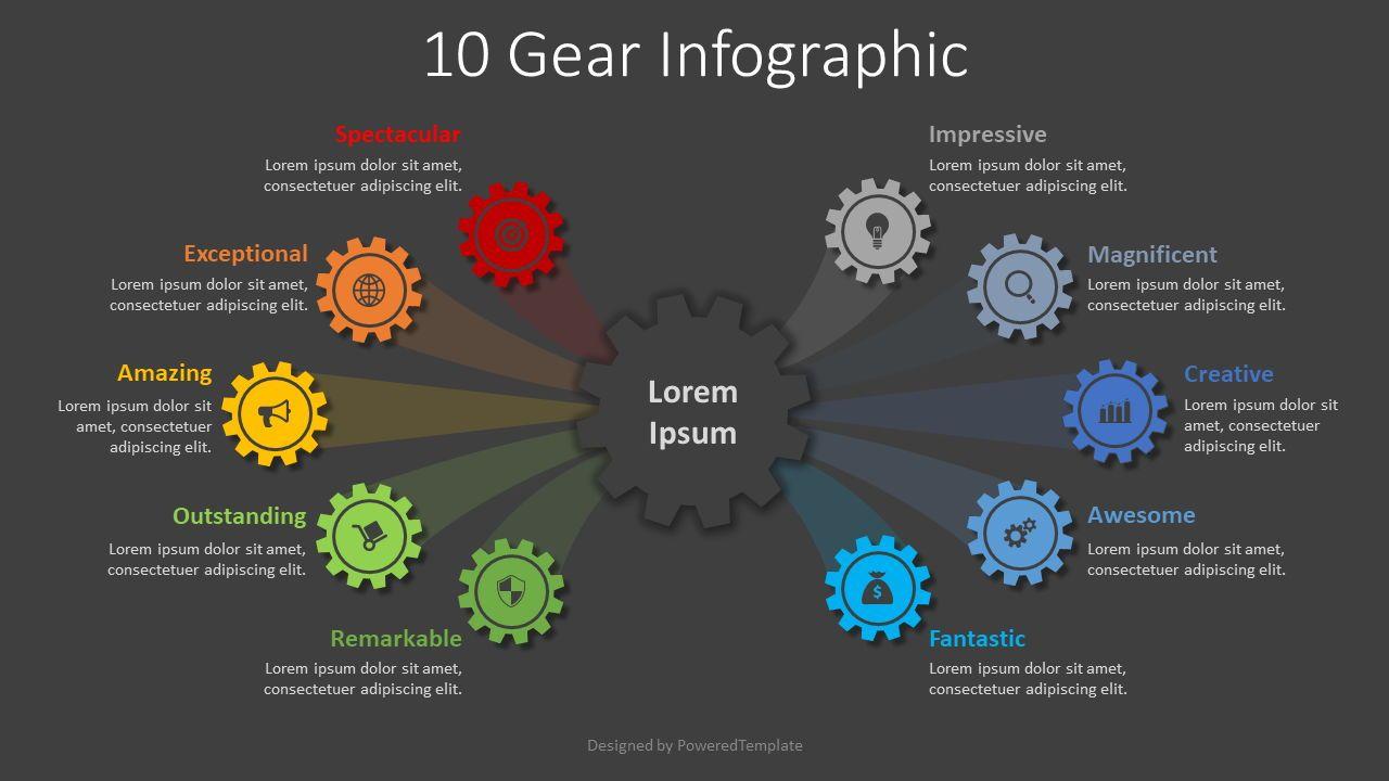 10 Step Gear Infographic, Slide 2, 08336, Infographics — PoweredTemplate.com