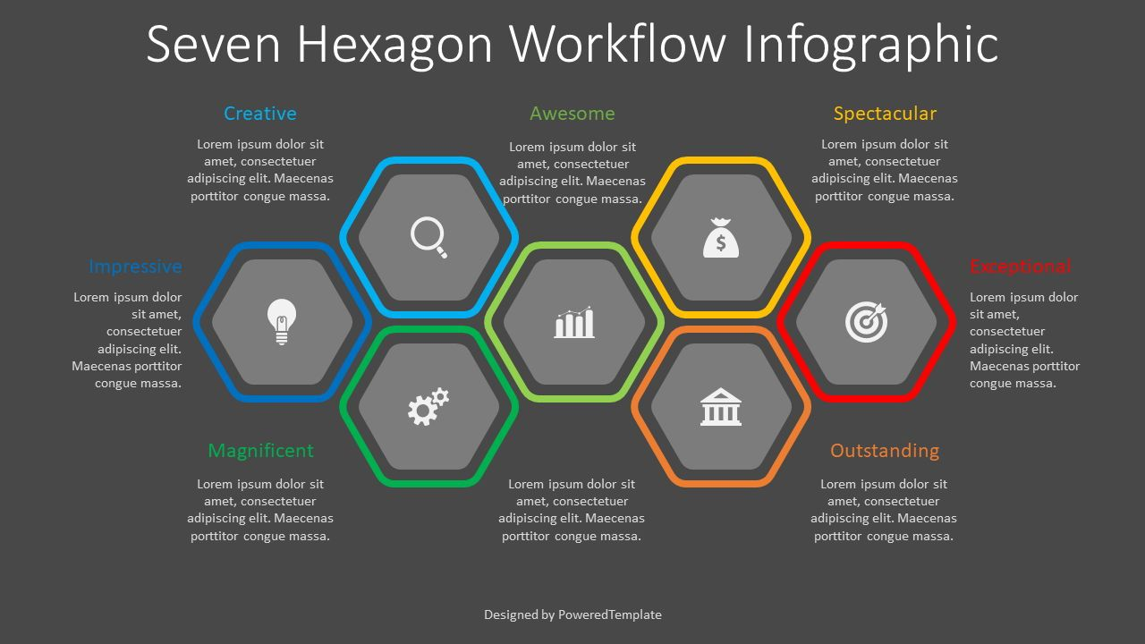 7 Hexagon Workflow Infograpic, 08337, Infographics — PoweredTemplate.com