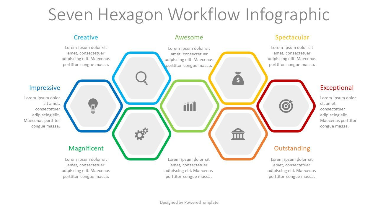 7 Hexagon Workflow Infograpic, Slide 2, 08337, Infographics — PoweredTemplate.com
