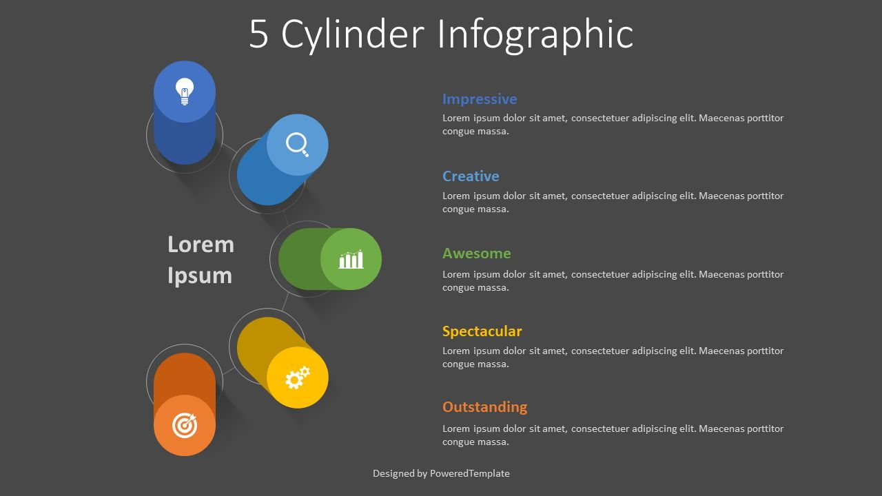 5 Volumetric Cylinders Infographic, 08339, Infographics — PoweredTemplate.com