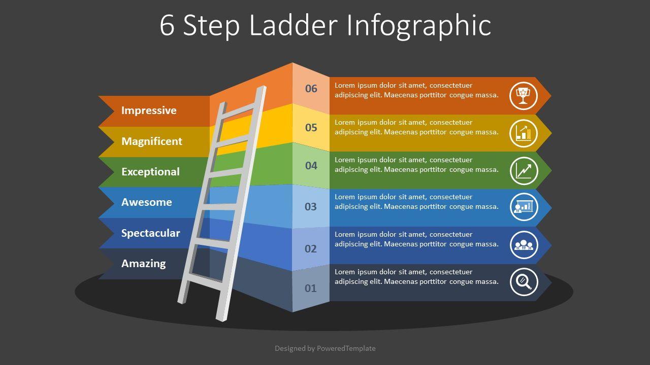 6 Step Ladder Infographic, Slide 2, 08340, Process Diagrams — PoweredTemplate.com