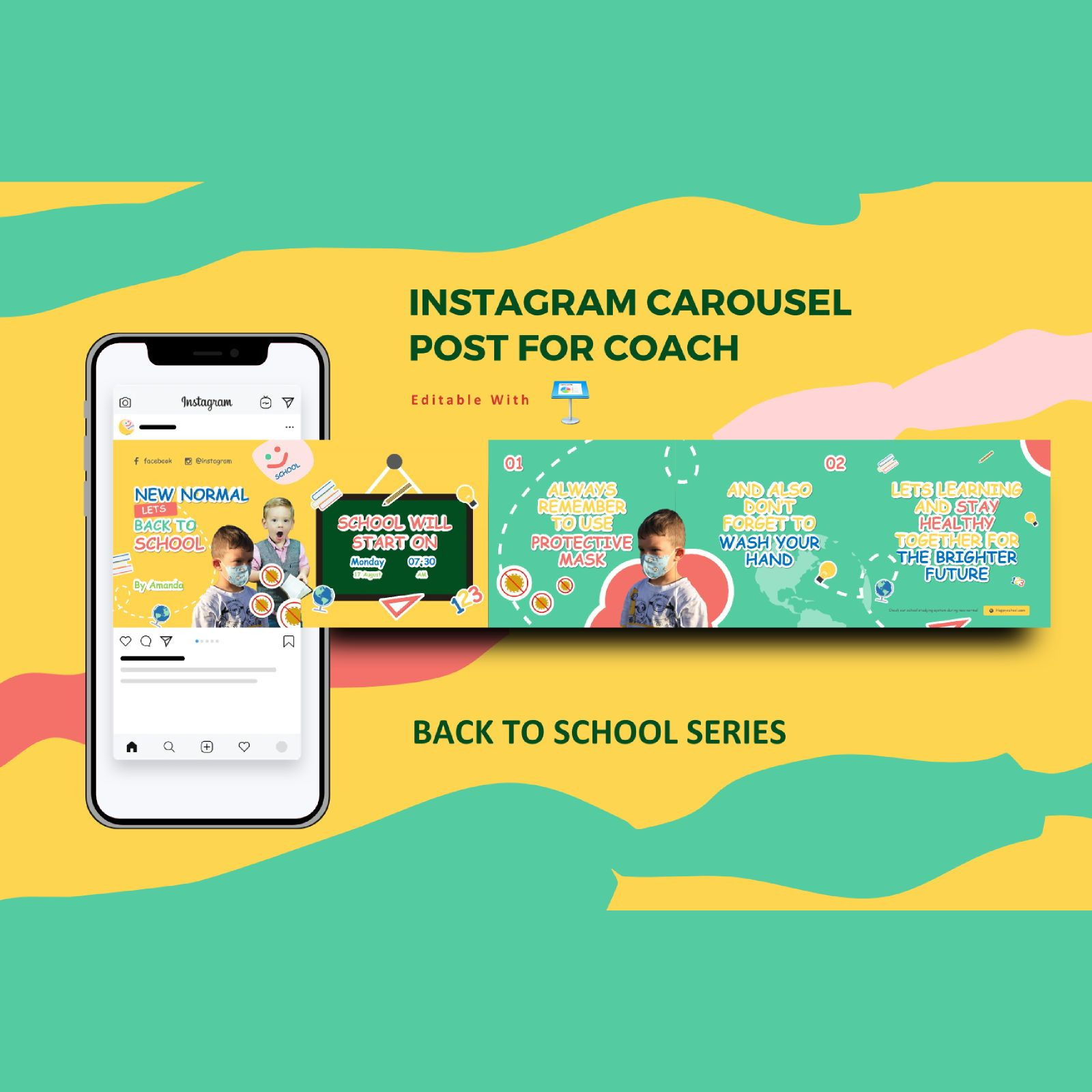 Back to school promotion instagram carousel keynote template, 08341, Infographics — PoweredTemplate.com