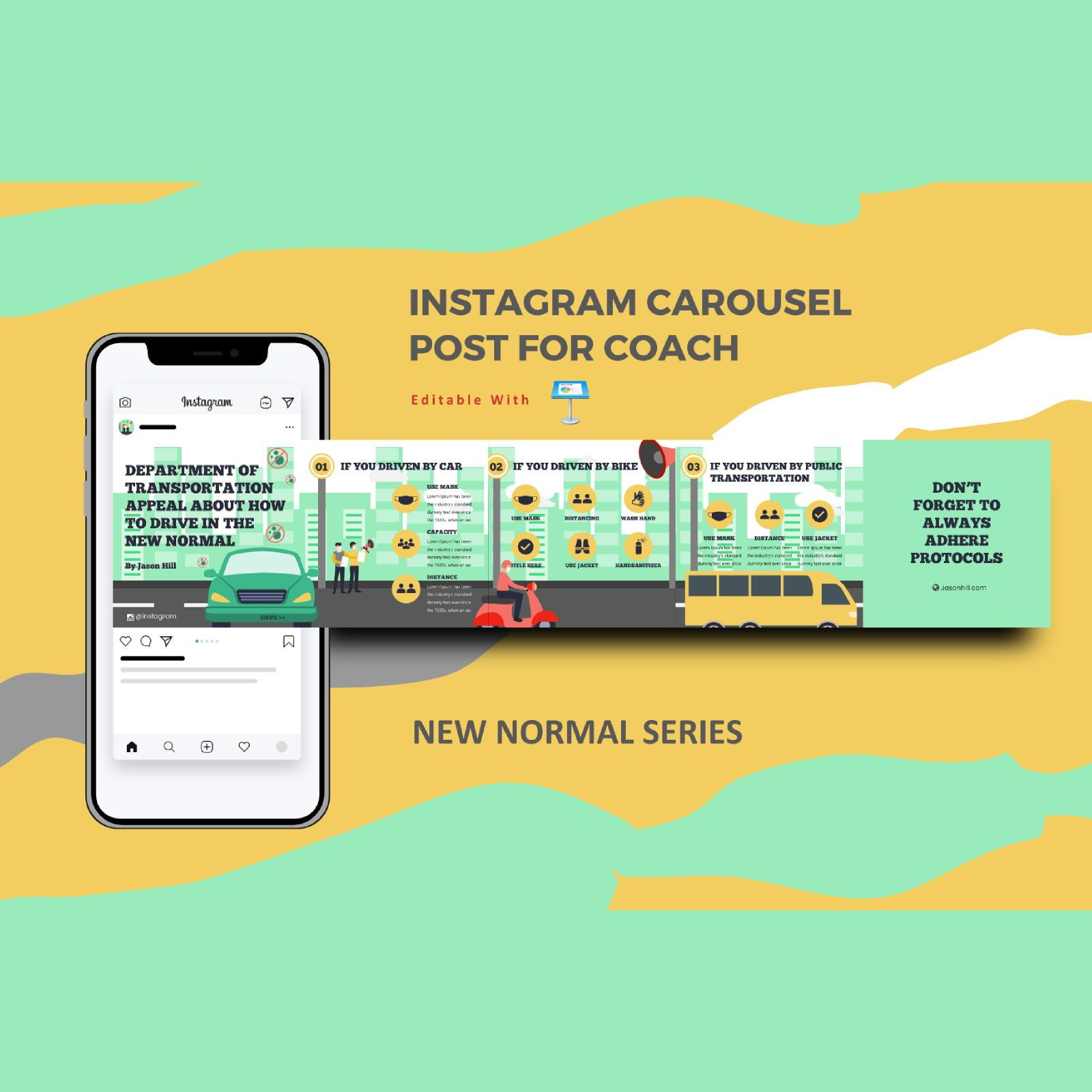 New normal protocol instagram carousel keynote template, 08344, Infographics — PoweredTemplate.com
