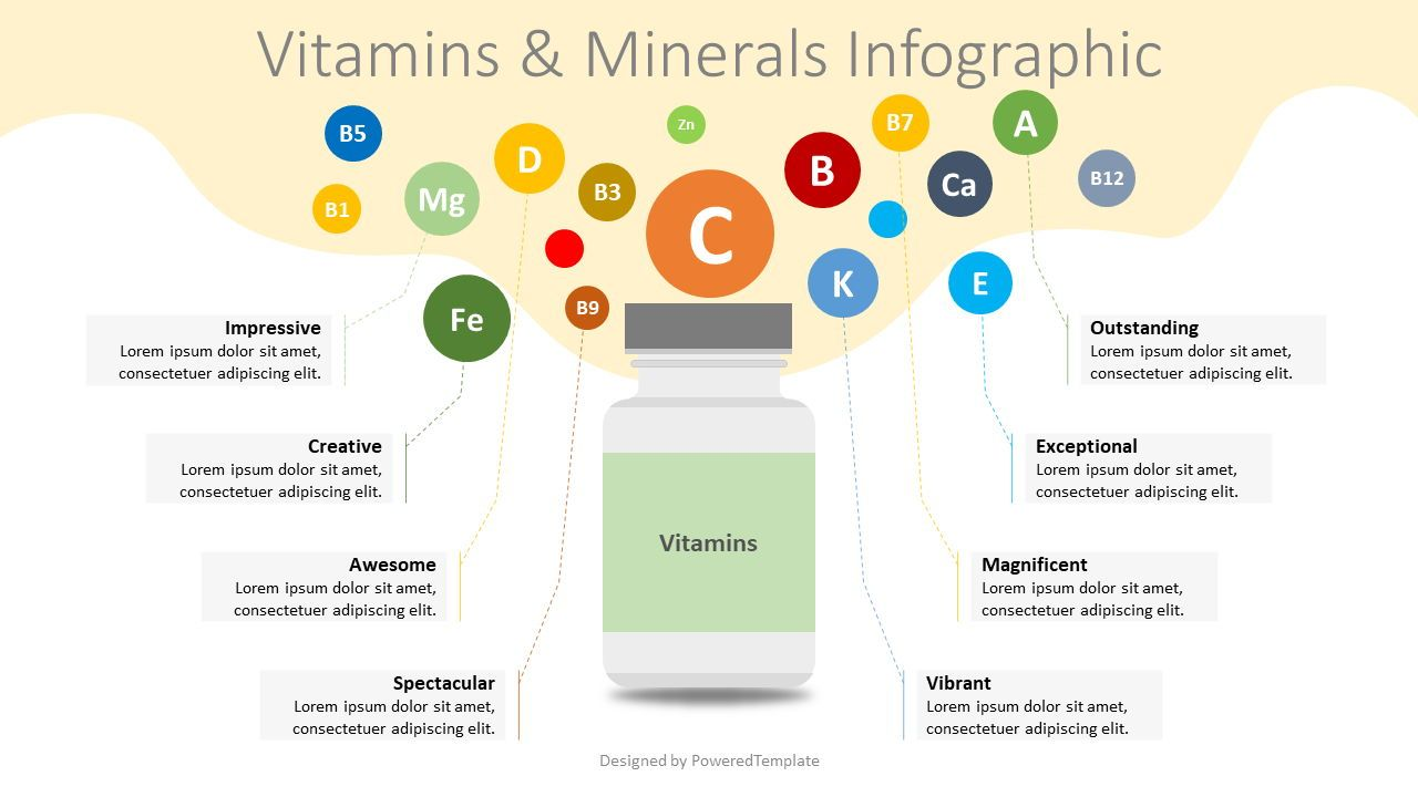 Vitamins and Minerals Infographic, 08346, Infographics — PoweredTemplate.com