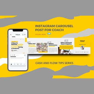 Business Models: Money management tips instagram carousel keynote template #08347
