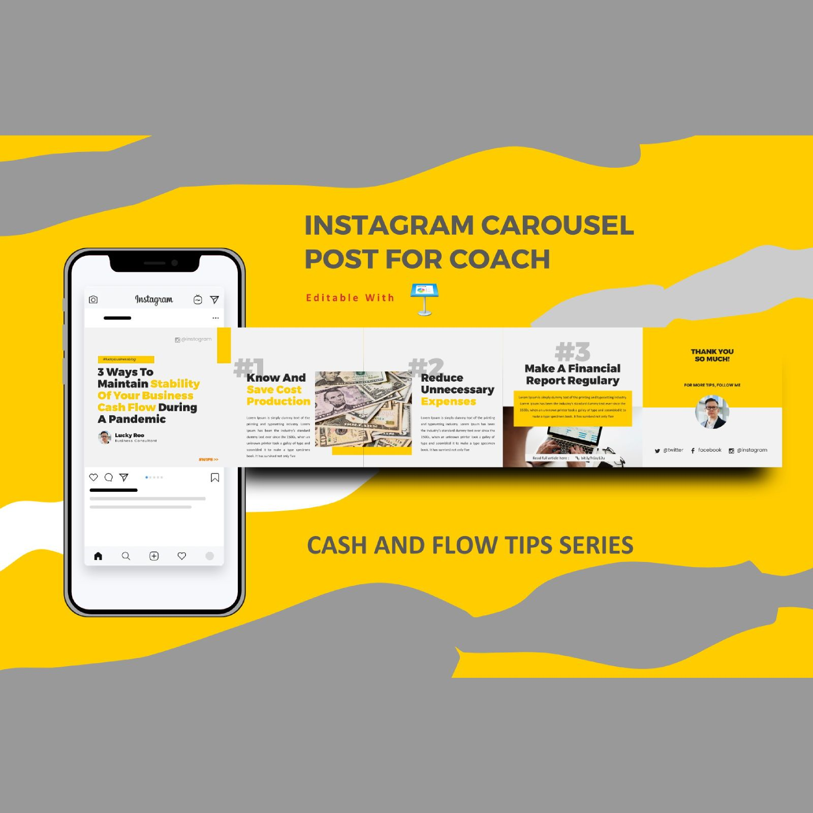 Money management tips instagram carousel keynote template, 08347, Business Models — PoweredTemplate.com