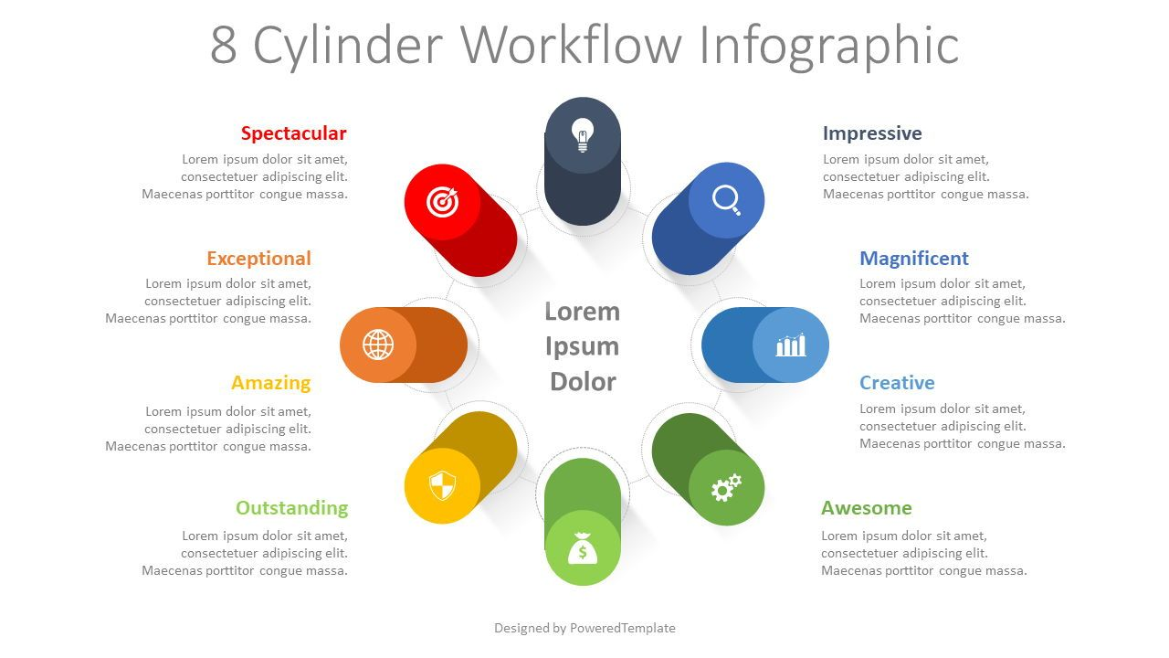 8 Cylinder Workflow Infographic, 08349, Infographics — PoweredTemplate.com