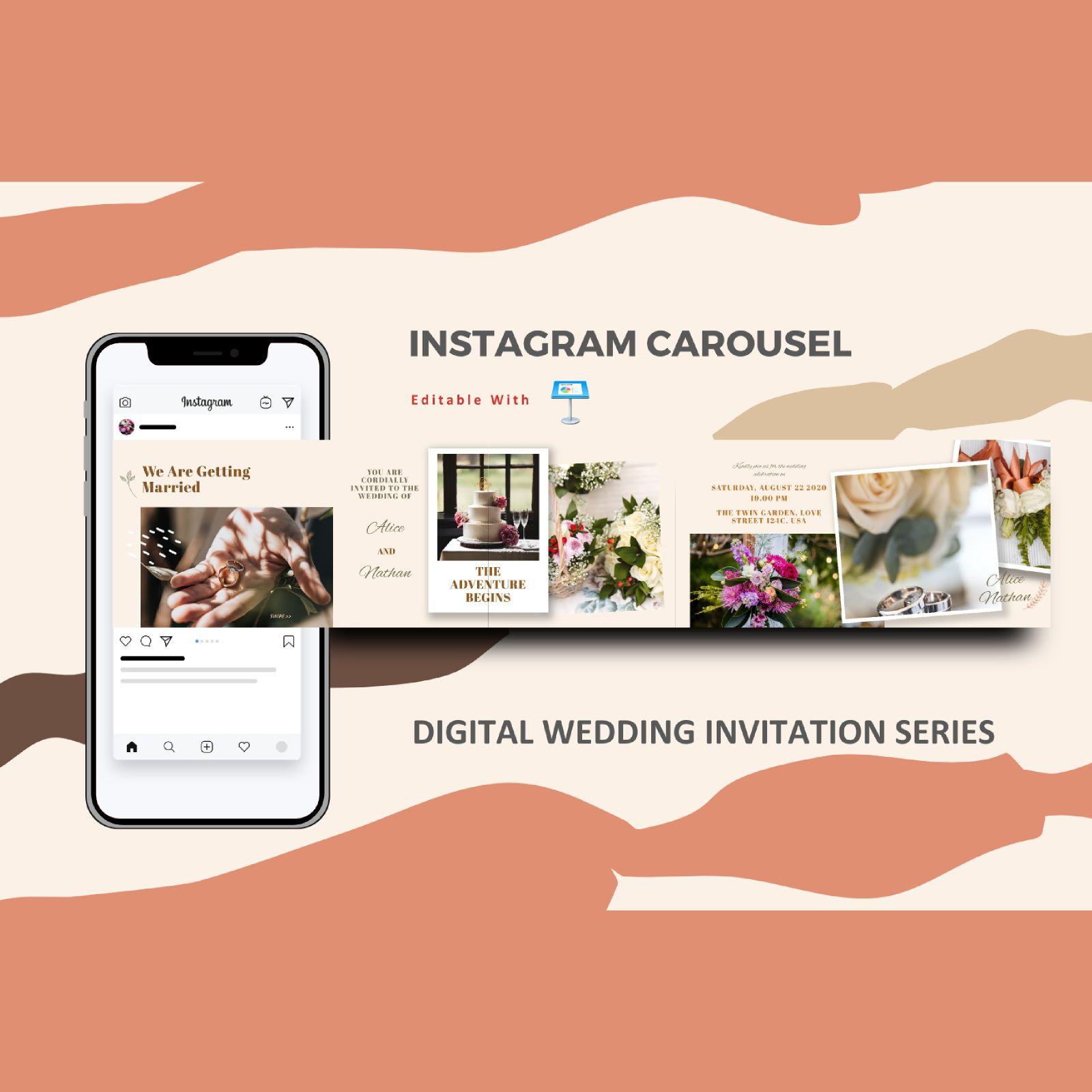 Wedding invitation instagram carousel keynote template, 08353, Infographics — PoweredTemplate.com