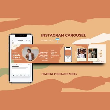 Business Models: Feminine podcast interview instagram carousel keynote template #08359
