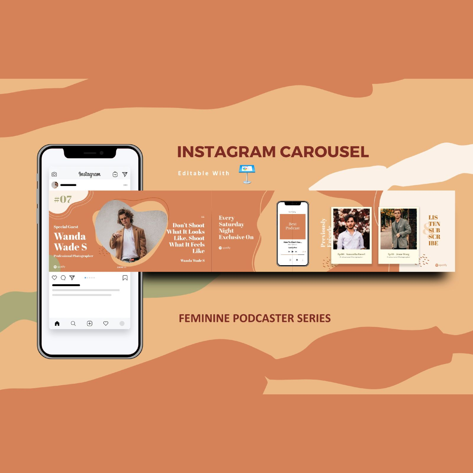 Feminine podcast interview instagram carousel keynote template, 08359, Business Models — PoweredTemplate.com