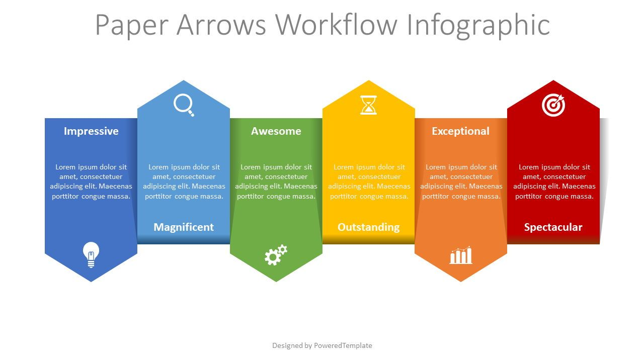 Up and Down Alternate Arrows Workflow, 08361, Process Diagrams — PoweredTemplate.com