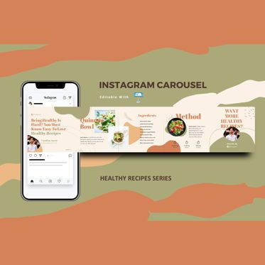 Infographics: Healthy recipes instagram carousel keynote template #08362