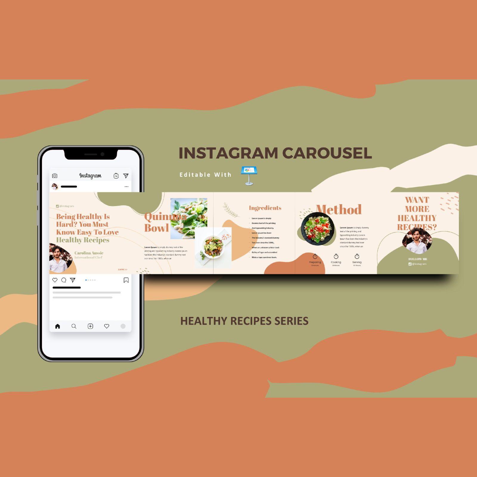 Healthy recipes instagram carousel keynote template, 08362, Infographics — PoweredTemplate.com