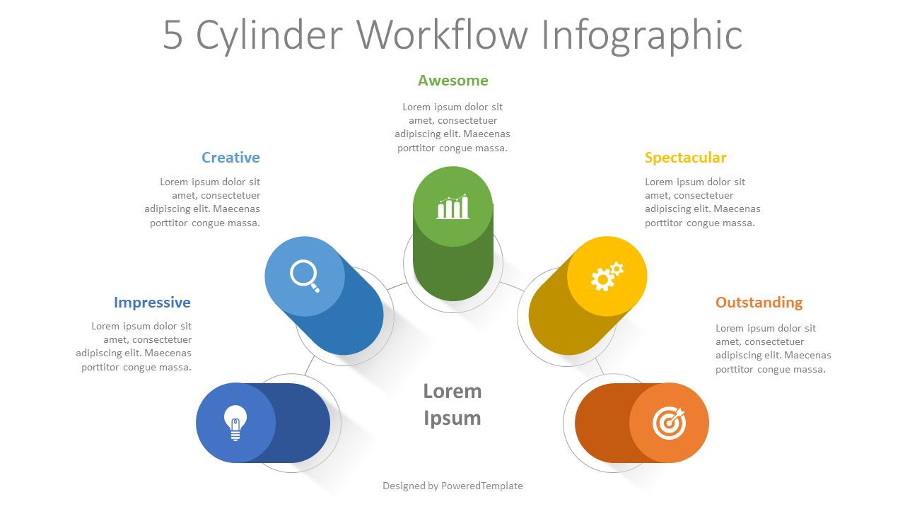 5 Cylinder Workflow Infographic, 08363, Infographics — PoweredTemplate.com