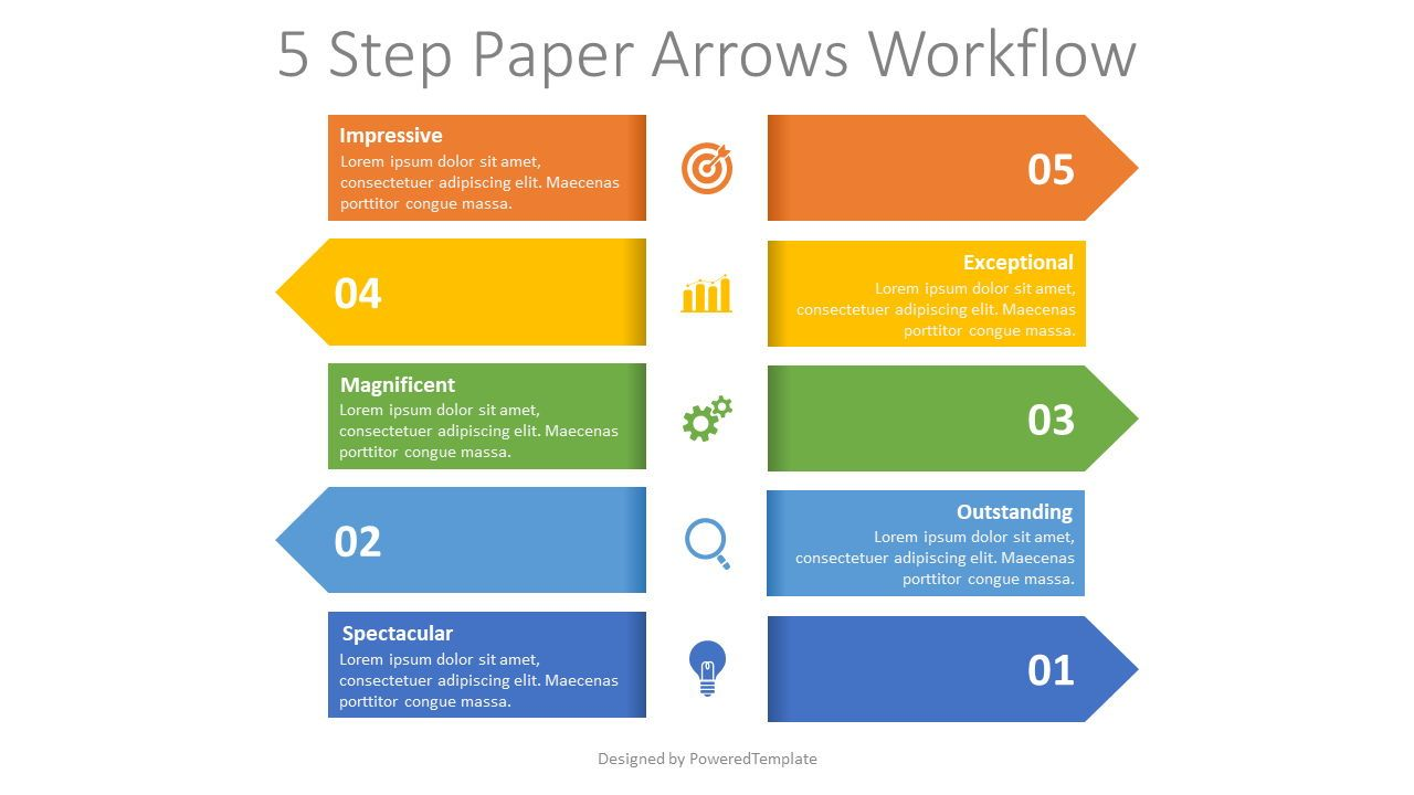 Left and Right Alternate Arrows Workflow, 08366, Process Diagrams — PoweredTemplate.com