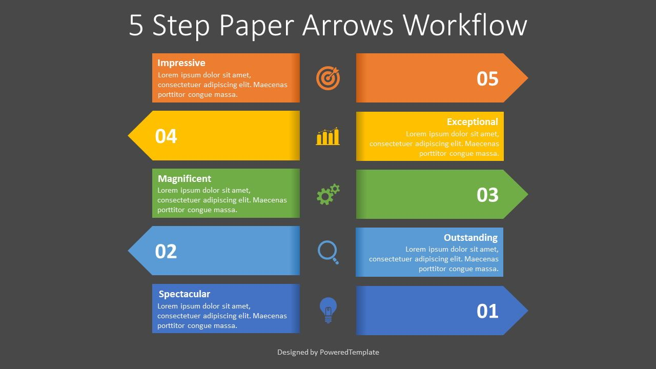 Left and Right Alternate Arrows Workflow, Slide 2, 08366, Process Diagrams — PoweredTemplate.com