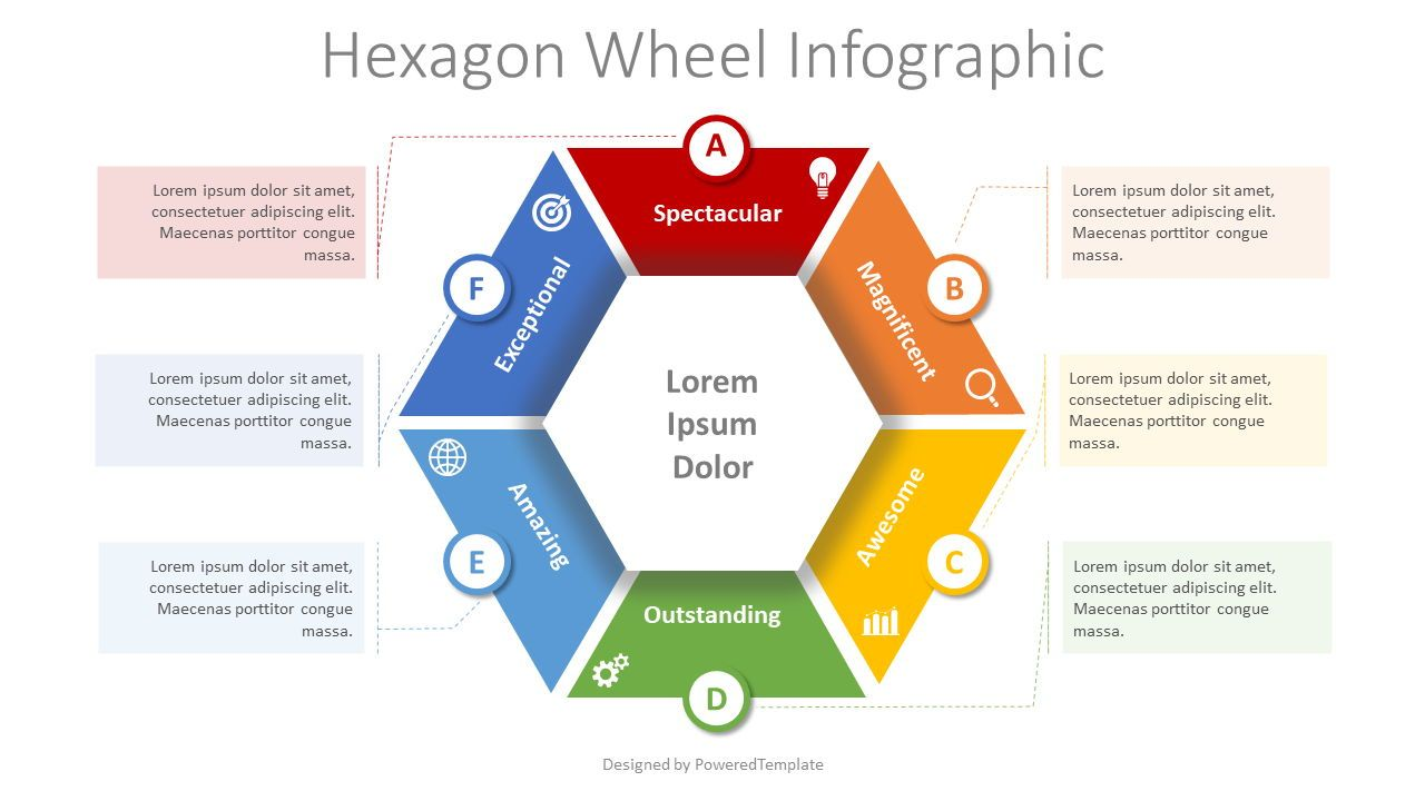 Hexagon Wheel Cycle Diagram, 08369, Infographics — PoweredTemplate.com