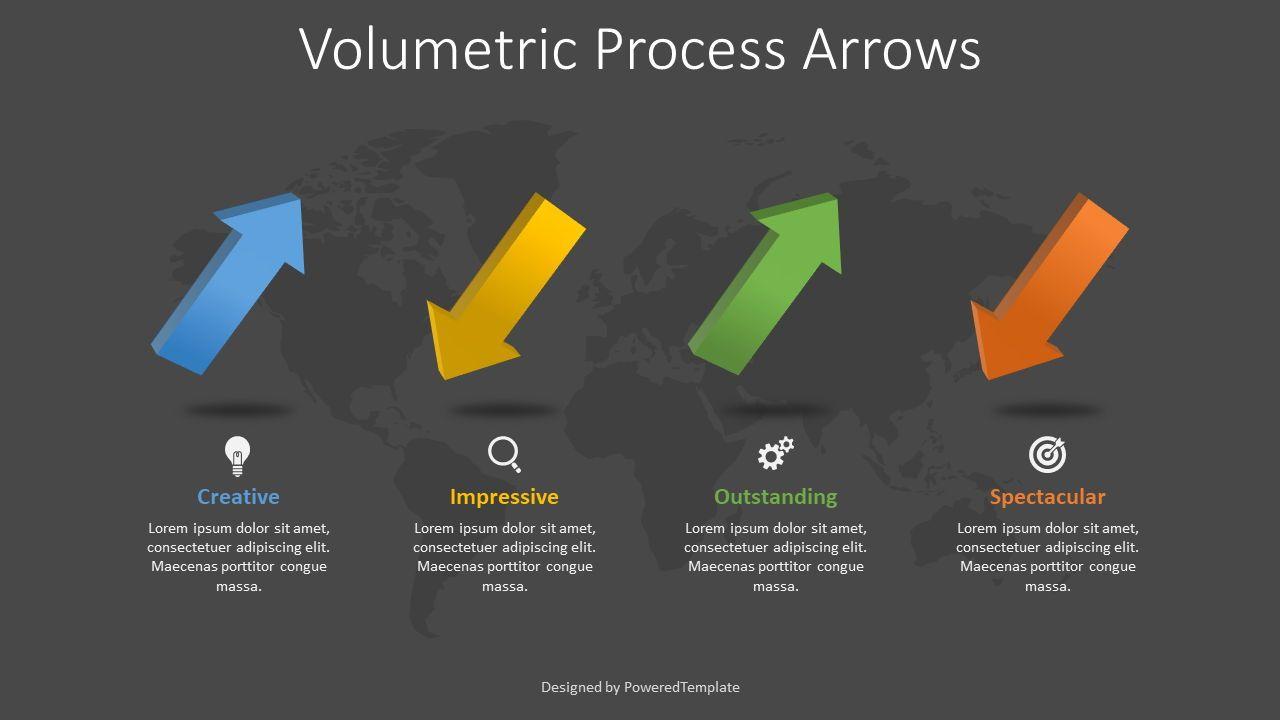 4 Volumetric Alternate Process Arrows, 08370, Process Diagrams — PoweredTemplate.com
