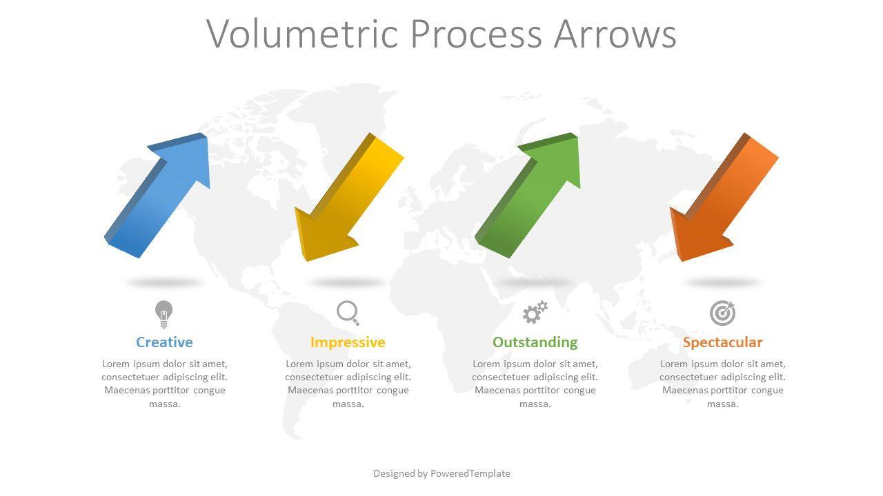 4 Volumetric Alternate Process Arrows, Slide 2, 08370, Process Diagrams — PoweredTemplate.com