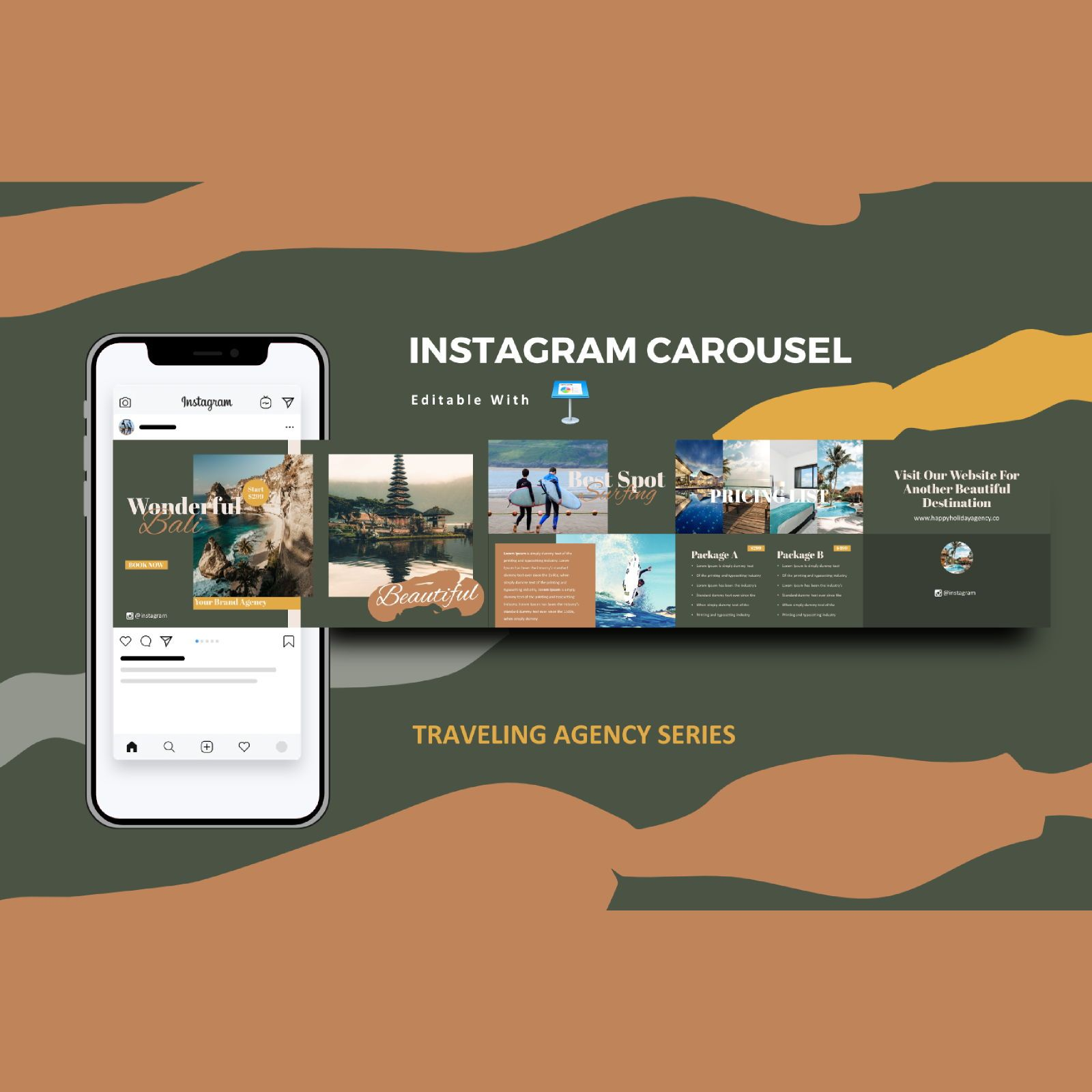Traveling agency service instagram carousel keynote template, 08371, Business Models — PoweredTemplate.com