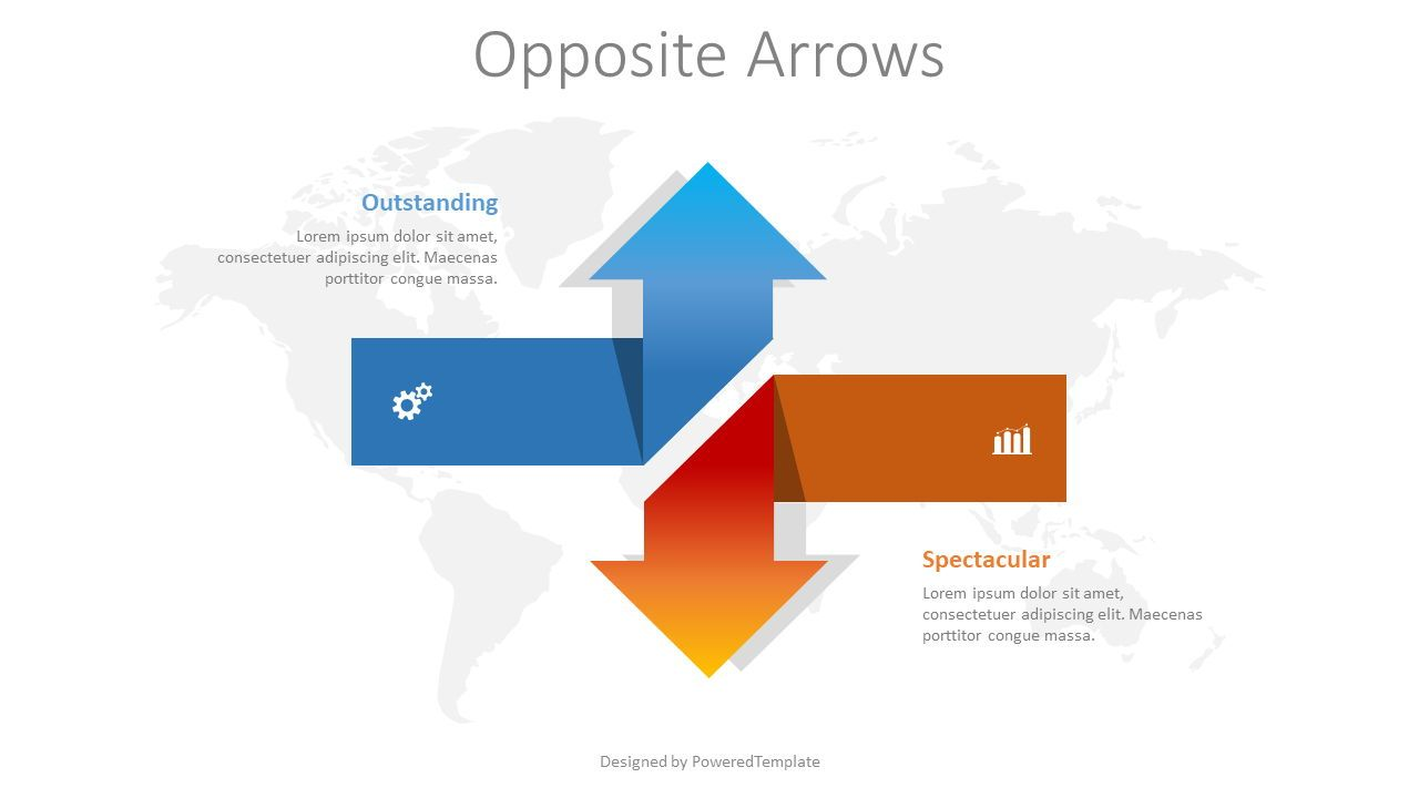 Two Opposite Directions Arrows, 08373, Infographics — PoweredTemplate.com