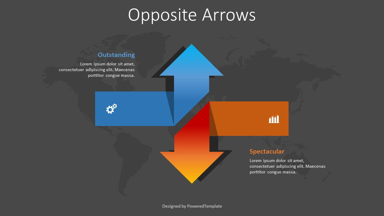 Two Opposite Directions Arrows, Slide 2, 08373, Infographics — PoweredTemplate.com