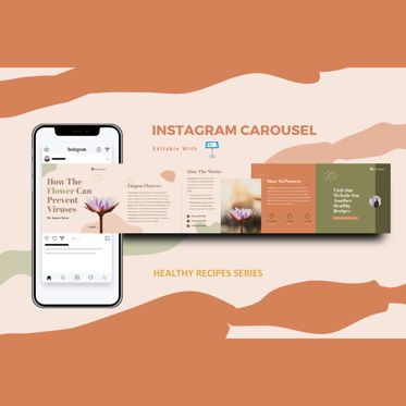 Infographics: Healthy tips creator instagram carousel keynote template #08374