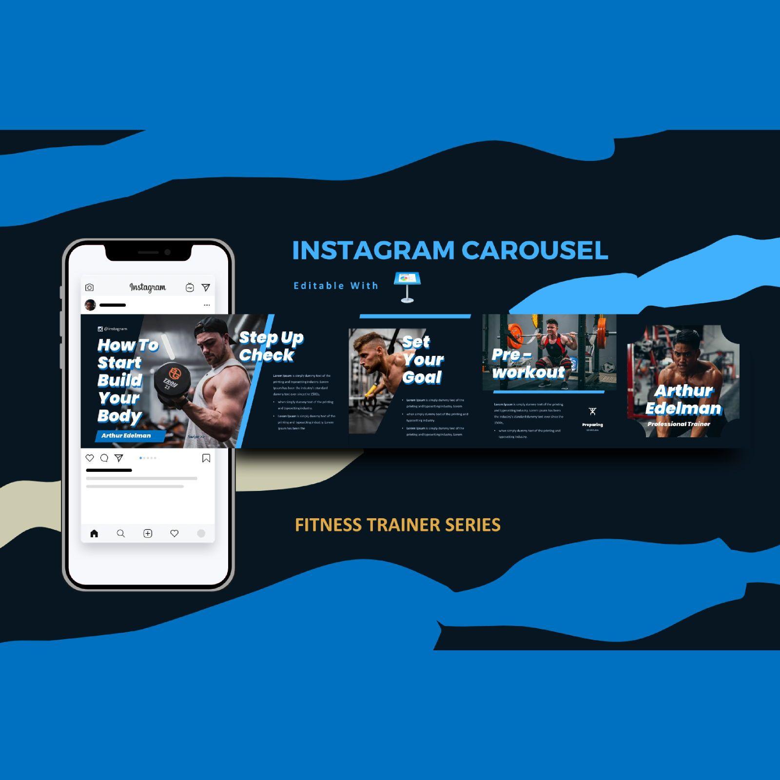 Gym trainer instagram carousel keynote template, 08377, Infographics — PoweredTemplate.com