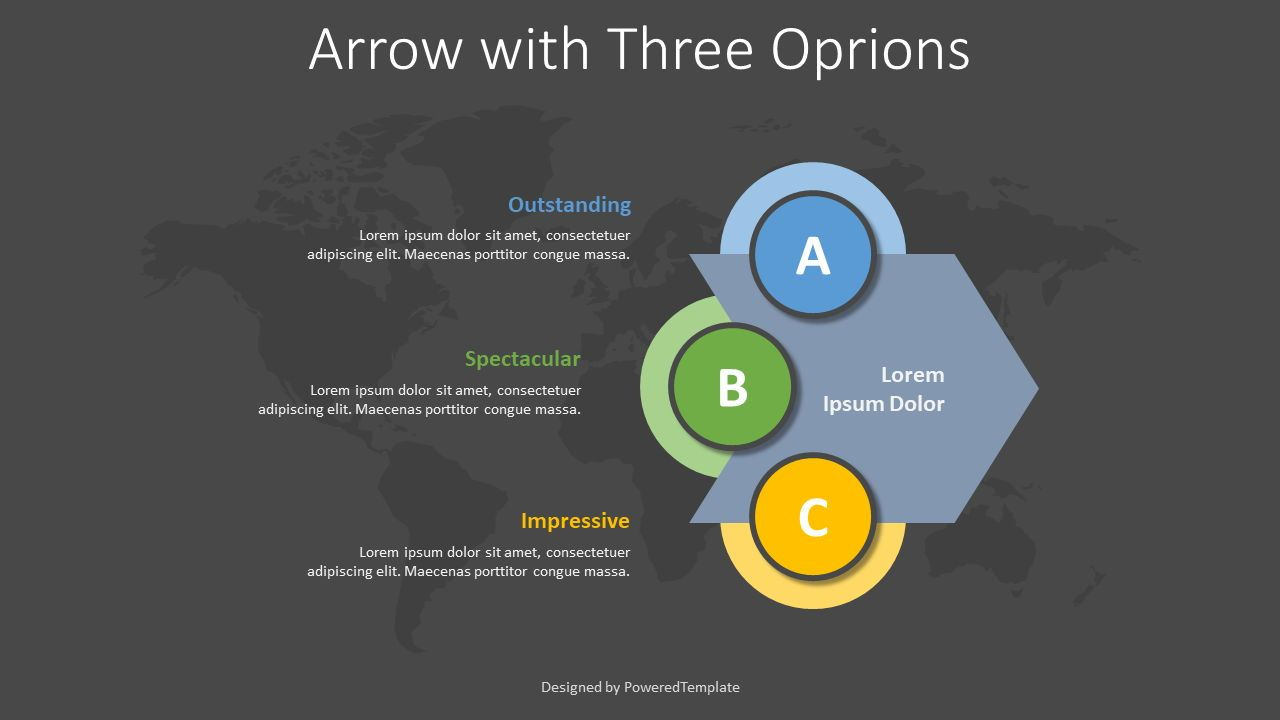 Chevron Arrow with 3 Options, Slide 2, 08378, Infographics — PoweredTemplate.com