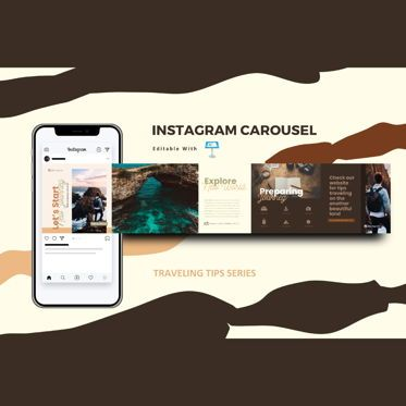 Infographics: Traveling tips instagram carousel keynote template #08380