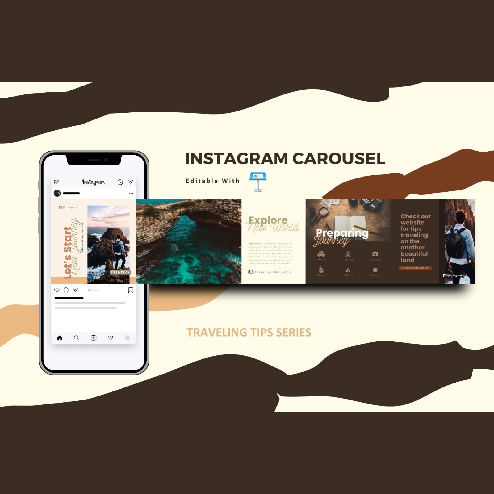 Traveling tips instagram carousel keynote template, 08380, Infographics — PoweredTemplate.com