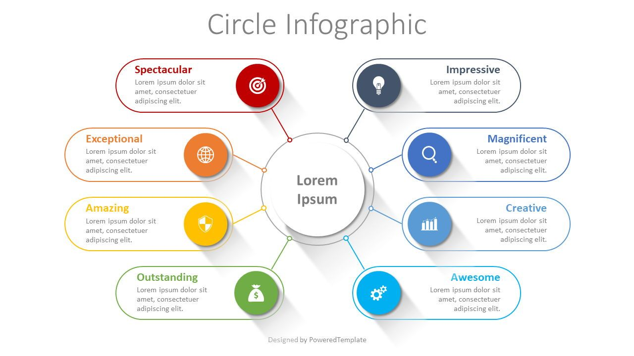 Connected Circles Infographic, 08381, Organizational Charts — PoweredTemplate.com