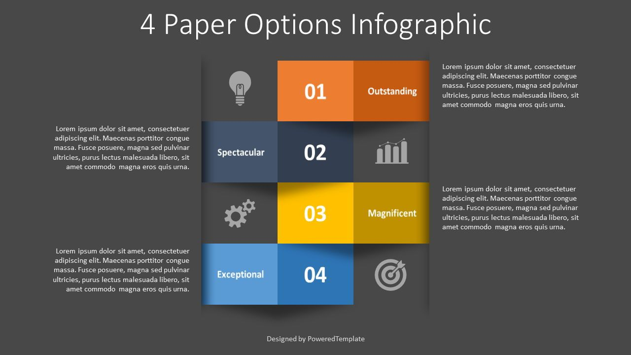 4 Numbered Paper Options Infographic, Slide 2, 08384, Infographics — PoweredTemplate.com