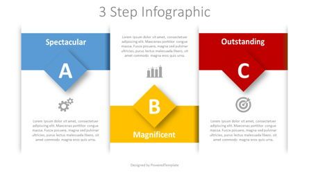 Stage Diagrams: 3 Step Text Blocks Infographic #08385