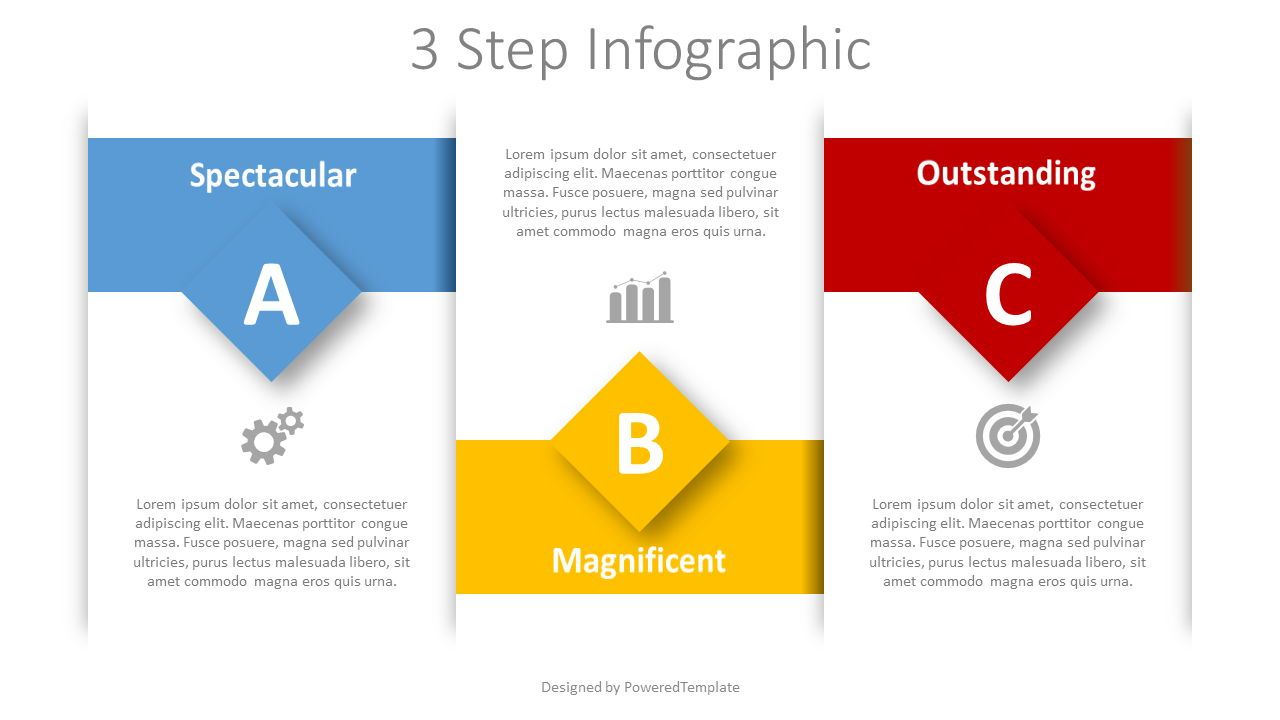 3 Step Text Blocks Infographic, 08385, Stage Diagrams — PoweredTemplate.com