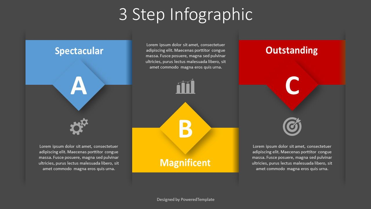 3 Step Text Blocks Infographic, Slide 2, 08385, Stage Diagrams — PoweredTemplate.com