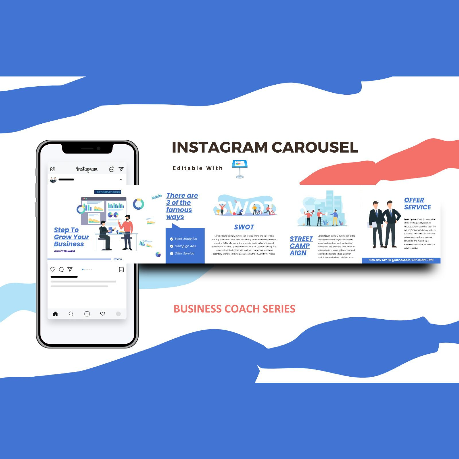 Business cooaching instagram carousel keynote template, 08386, Business Models — PoweredTemplate.com