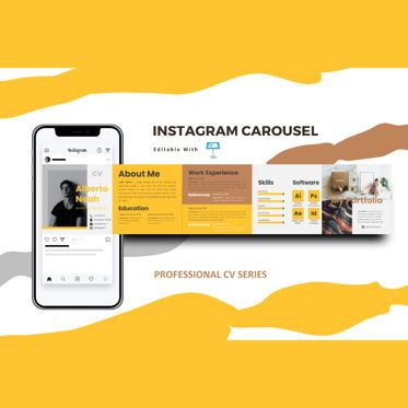 Business Models: Professional online resume cv instagram carousel keynote template #08389