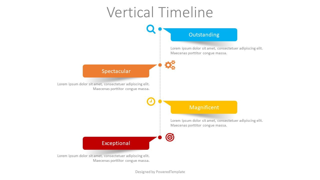 Vertical Timeline with Paper Stickers, 08396, Timelines & Calendars — PoweredTemplate.com