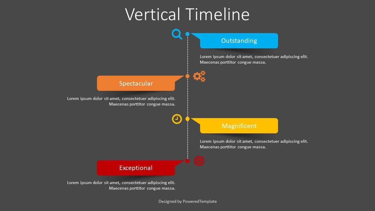 Vertical Timeline with Paper Stickers, Slide 2, 08396, Timelines & Calendars — PoweredTemplate.com