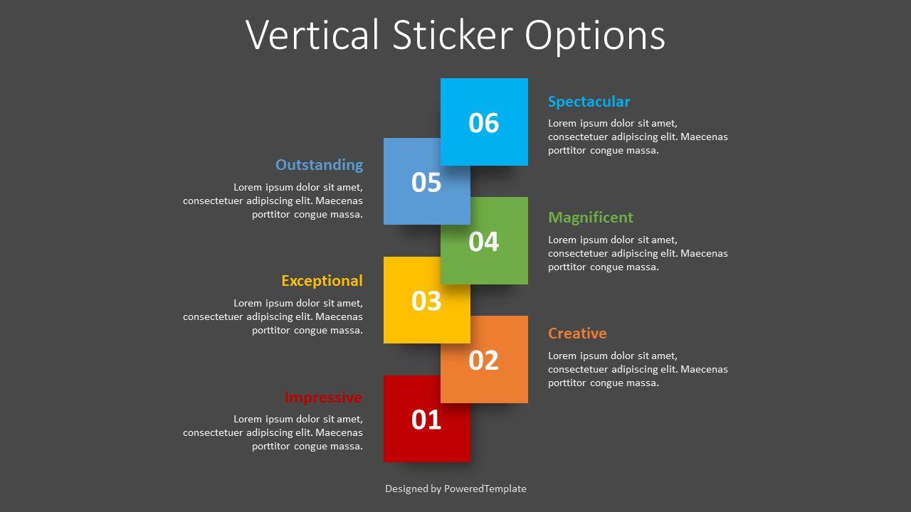 Vertical Sticker Options, Slide 2, 08398, Infographics — PoweredTemplate.com