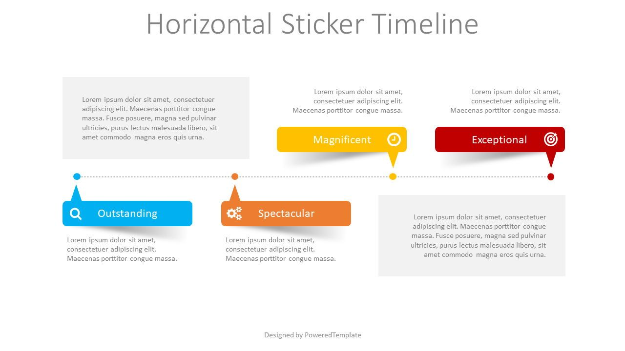 Horizontal Sticker Timeline, 08401, Stage Diagrams — PoweredTemplate.com