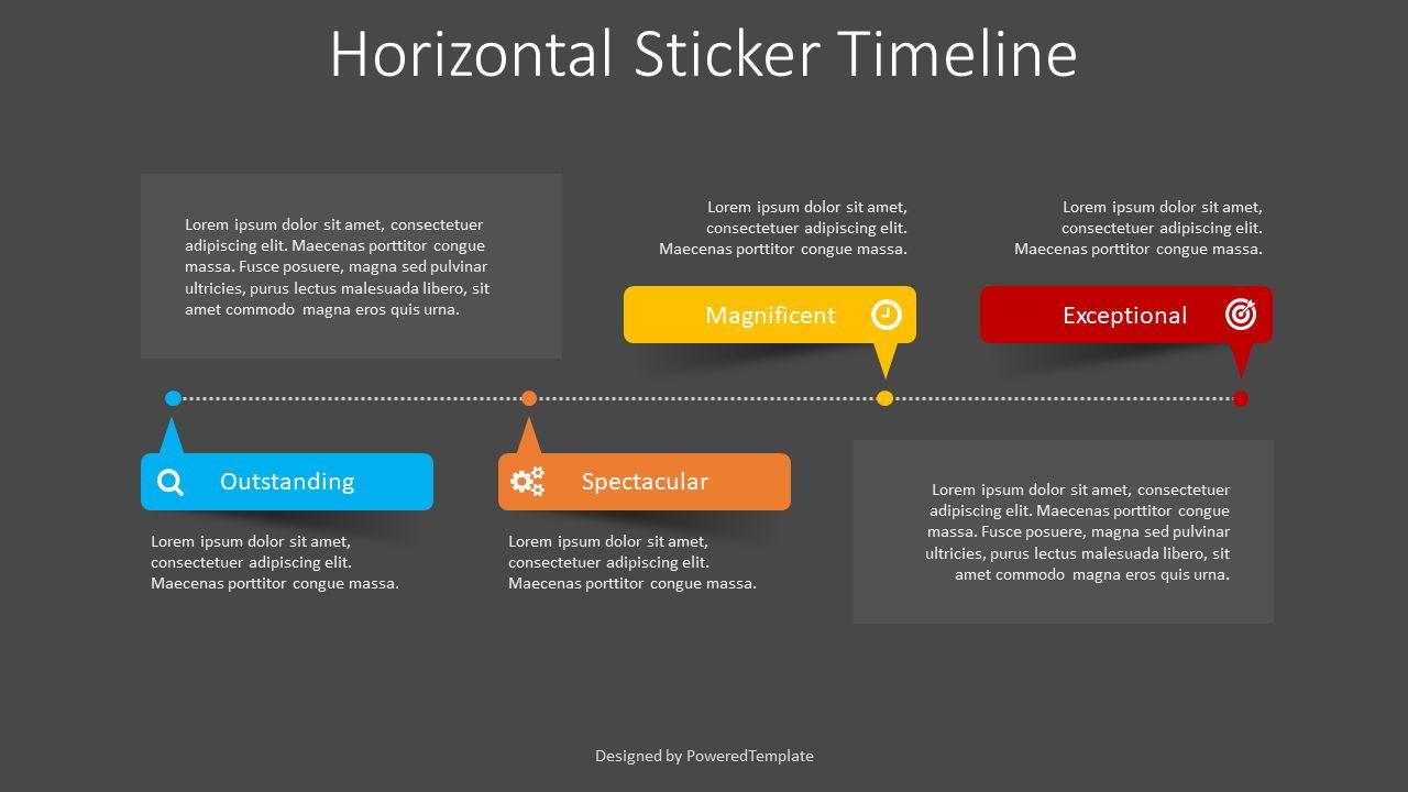 Horizontal Sticker Timeline, Slide 2, 08401, Stage Diagrams — PoweredTemplate.com