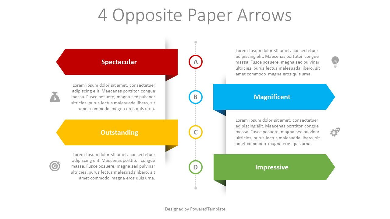 4 Opposite Paper Arrows, 08404, Infographics — PoweredTemplate.com