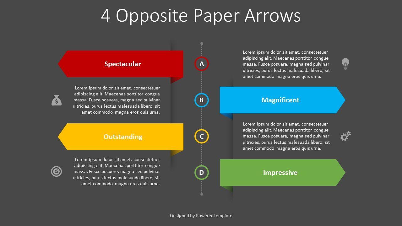 4 Opposite Paper Arrows, Slide 2, 08404, Infographics — PoweredTemplate.com