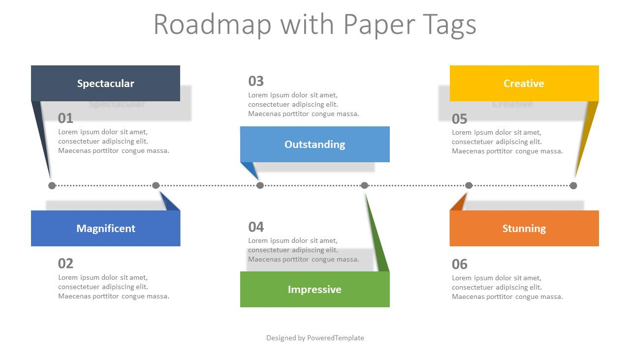 Roadmap with Paper Tags, 08405, Infographics — PoweredTemplate.com