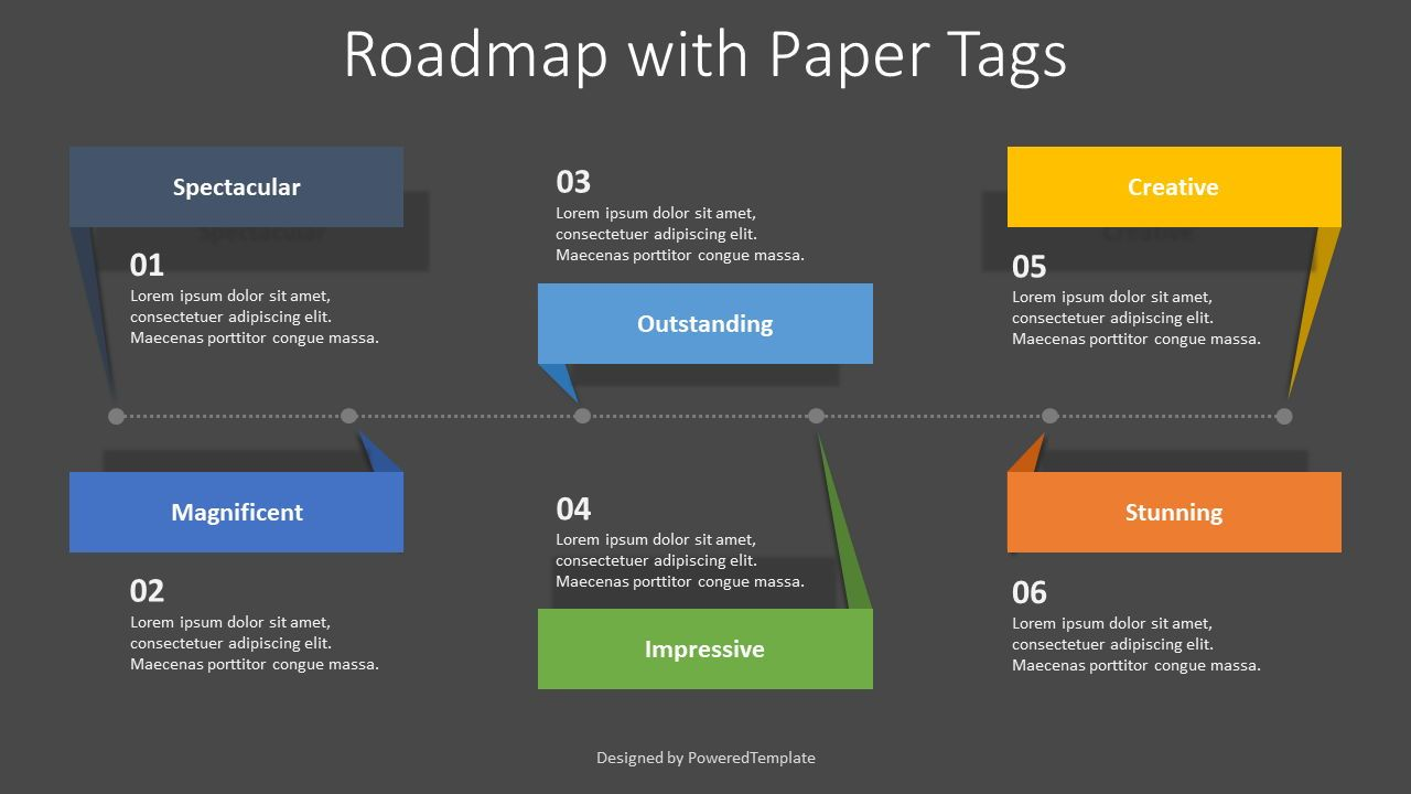 Roadmap with Paper Tags, Slide 2, 08405, Infographics — PoweredTemplate.com
