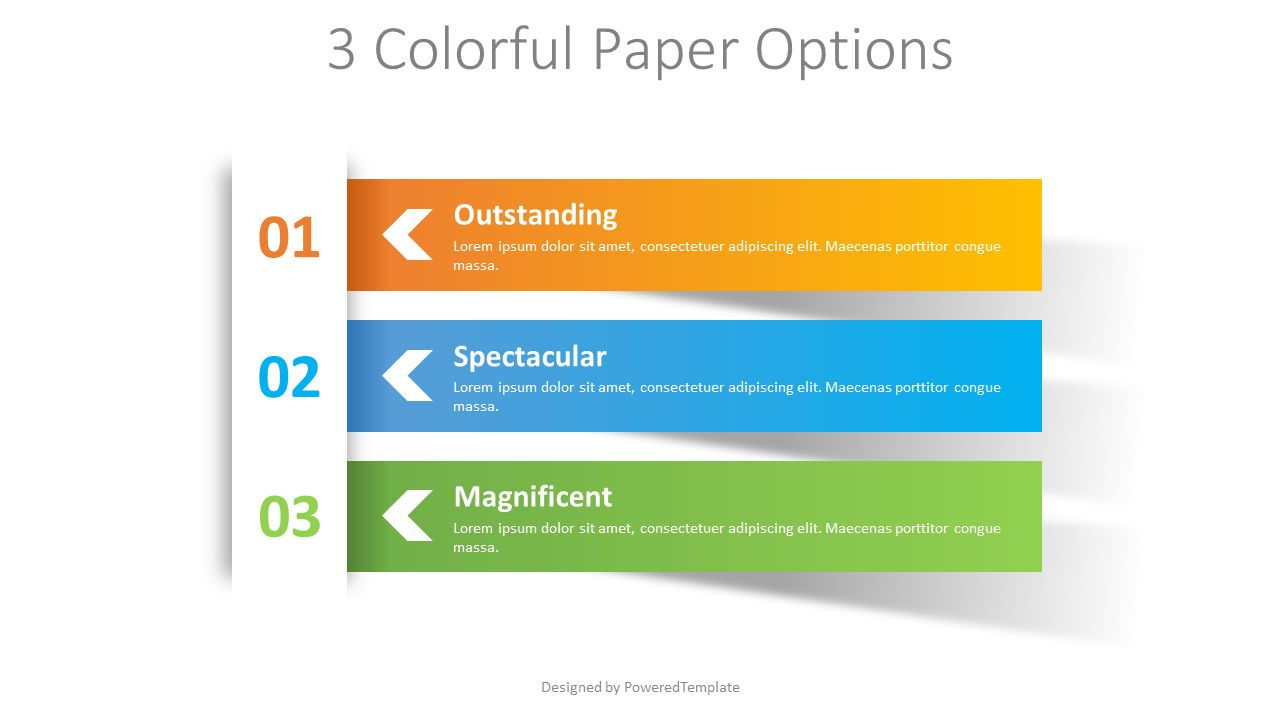 3 Colorful Paper Options, 08410, Infographics — PoweredTemplate.com