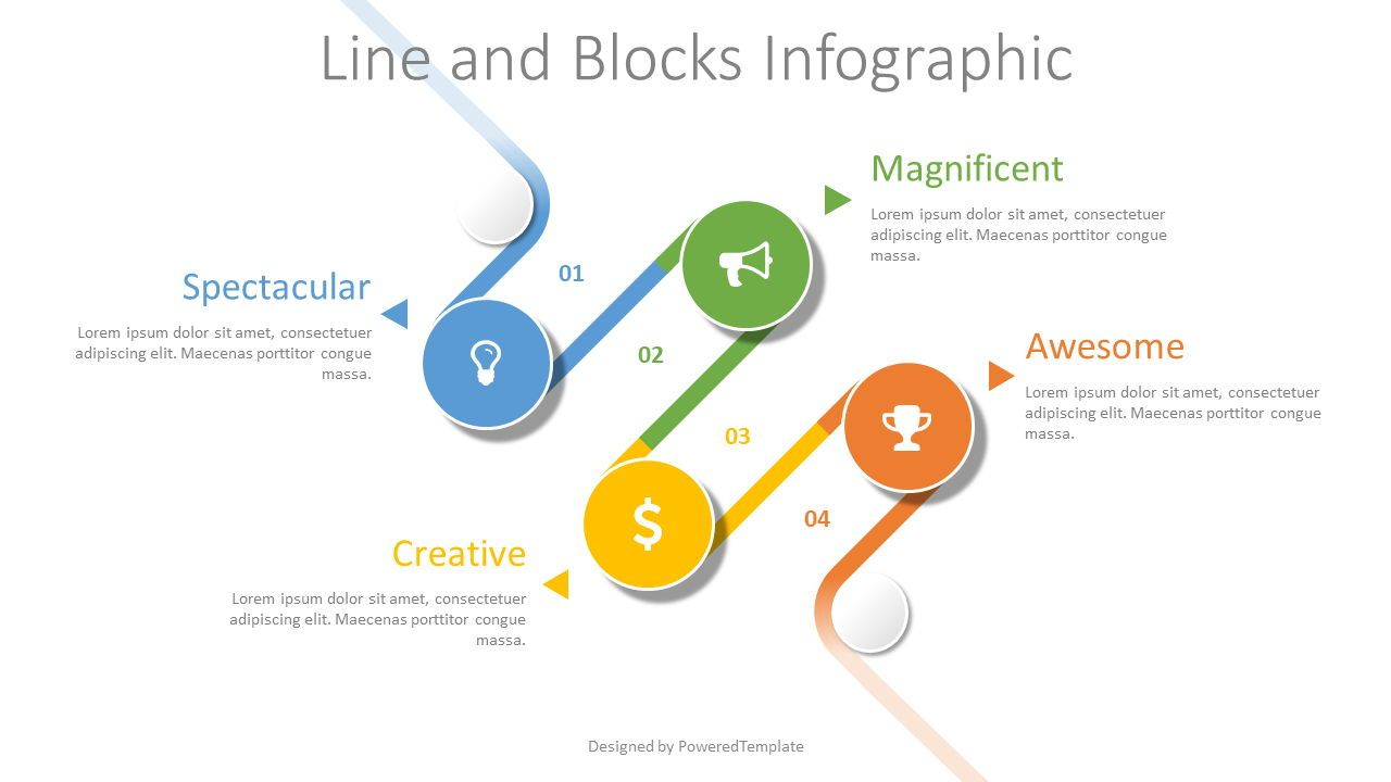 Bended Timeline Infographic, 08414, Stage Diagrams — PoweredTemplate.com